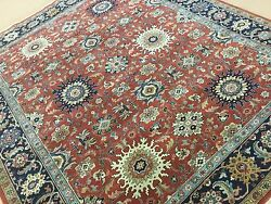 8and039.0 X 9and039.7 Rust Navy Blue Geometric All Over Oriental Area Rug Handmade Wool