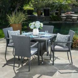 Cabela Outdoor 5 Piece Grey Wicker Dining Set With Cushions
