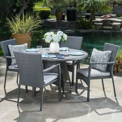 Oxford Outdoor 5 Piece Grey Wicker Dining Set With Cushions