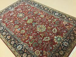 6'.2 X 9'.1 Red Navy Blue Fine Quality Oriental Area Rug Hand Knotted Wool