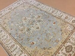 6and039.1 X 8and039.8 Light Blue Beige Fine Geometric Oriental Rug Hand Knotted Wool
