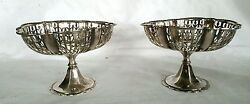1922 Birmingham Solid Sterling Silver Reticulated Bonbon Compote Pair 215 Grams