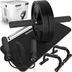 Rdx Ab Roller Exercise Wheel Push-up Bars Skipping Rope Knee Mat Fitness Workout