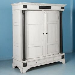 Antique 19th Century Danish Biedermeier Armoire Painted White
