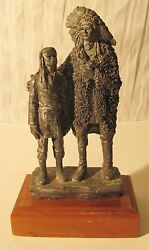 1983 Michael Ricker Pewter Statue, Native American Indian Chief And Boy, Rare