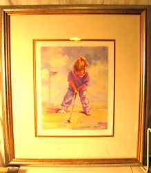 Lucelle Raad Little Putter Young Girl, Framed Print, Signed/ Numbered. Golf