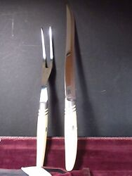 Vintage 1960's Murray-black Co 2pc Carving Set In Leather Pouch Enameled Hndl