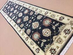 2and039.6 X 10and039.2 Black Beige Fine Ziegler Oriental Rug Runner Hand Knotted Wool