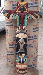 5' Hand Carved Totem Poles 5 Ft Peyote Bird Totems, Native American F Gallagher