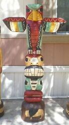 Gallagher 5' Hand Carved Totem Poles 5 Ft Peyote Bird Totems Native American Usa