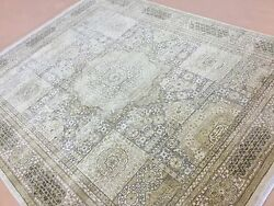 8'.0 X 10'.0 Beige Green Transitional Oriental Area Rug Hand Knotted Wool