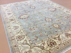 8'.2 X 10'.0 Light Blue Beige Oushak All-over Oriental Area Rug Hand Knotted
