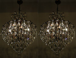 A Pair of Vintage Spider Style Cast Brass & Crystals LARGE Chandeliers 1950's