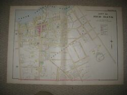 Masterpiece Antique 1889 Red Bank New Jersey Handcolored Map Large Mansions Rare