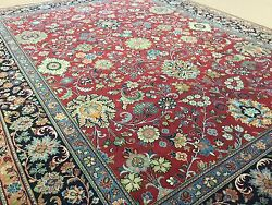 8' X 10' Red Navy Blue Fine Traditional Oriental Area Rug Handmade Wool Floral