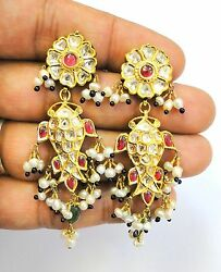 Vintage Antique Solid 20k Gold Jewelry Diamond Polki Ruby Earring Pair