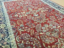 6'.3 X 9'.1 Red Navy Blue Fine Traditional Oriental Area Rug Hand Knotted Wool