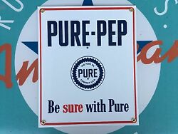 Top Quality Pure-pep Oil Company Porcelain Coated 18 Gauge Steel Sign