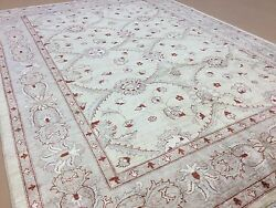 8'.1 X 11'.7 Beige Red Oushak All-over Oriental Area Rug Hand Knotted Wool
