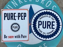 Pure Pep - Pure Oil Company Porcelain Coated Top Quality 18 Gauge Steel Signs