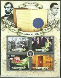 Sierra Leone Imperforated Presidents Abe Lincoln And Obama Sheet Sc2940 Mint Nh