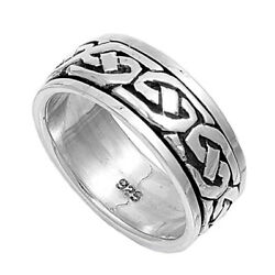 Sterling Silver Womanand039s Menand039s Ring Celtic Knot 925 Wedding Band 9mm Sizes 5-13