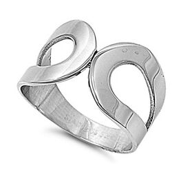 Women's Fashion Ring Polished Stainless Steel Band New Usa 13mm Sizes 5-10