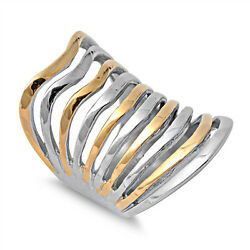 Women's Gold Tone Bar Cutout Cute Ring New 316l Stainless Steel Band Sizes 6-12