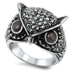 Women's Owl Fashion Designer Ring New 316l Stainless Steel Band Sizes 9-14