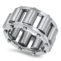 Menand039s Rollers Tumblers Wedding Ring New 316l Stainless Steel Band Sizes 7-14