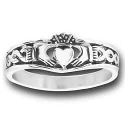 Filigree Infinity Celtic Claddagh Heart Ring New Stainless Steel Band Sizes 5-10