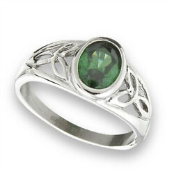 Emerald Cz Celtic Filigree Trinity Knot Ring New Stainless Steel Band Sizes 6-10