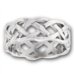 Wide Heavy Celtic Infinity Knot Wedding Ring New Stainless Steel Band Sizes 7-14