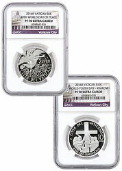 2016 Set Of 2 10and5euro Vatican Silver Proof Coins Ngc Pf70 Uc World Day Of Peace