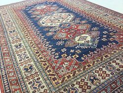 6and039.8 X 9and039.9 Navy Blue Brown Very Fine Geometric Oriental Rug Hand Knotted Wool