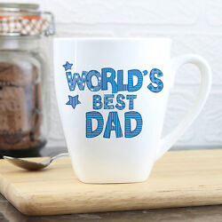Personalised Worlds Best Blue Latte Mug Gift For Dad Daddy Grandad Father's Day