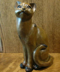 Wood Look Sitting Cat Figurine From Transpac D6012a 11.5 Nib From Retail Store