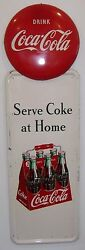 1947 Coca-cola Sign - 2 Signs -- Rare 6 Pack W/ Button -- And03947 Serve Coke At Home