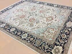 8'.2 X 9'.11 Brown Navy Fine Geometric Oriental Area Wool Rug Hand Knotted