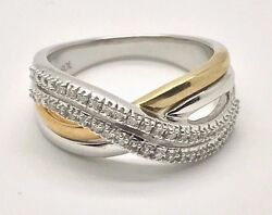 White Gold - 9k Two Tone .30ctw Diamond X Crossover Wave Band Cocktail Ring 6.75