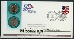 United States 50 State Quarters Mississippi P And D Official Commemorative Cover