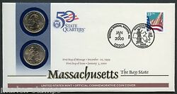 United States 50 State Quarters Massachusetts P And D Official Commemorative Cover