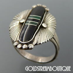 BENSON SAM NAVAJO STERLING SILVER ONYX AND MALACHITE ETHNIC SHIELD DESIGN RING