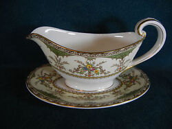 Minton Chatham Green Pattern Number S123 Gravy Boat With Separate Base