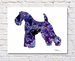 Kerry Blue Terrier Abstract Watercolor 11