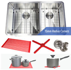 Ariel 32 15mm Radius Stainless Steel Double 60/40 Bowl Kitchen Sink Combo 16g