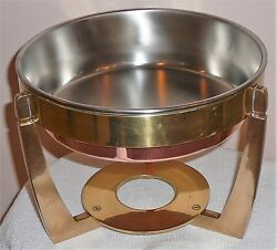 Copper And Brass Three-piece Vintage 1980s Sterno Stamped Fondue / Chafing Dish