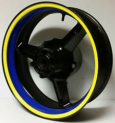 Yellow And Blue Motorcycle Inner Rim Decals Wheel Stickers Stripes Tape Vinyl Wrap