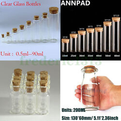 Wholesale 0.5-200ml Empty Vials Clear Glass Bottles And Corks Jars Small Bottles