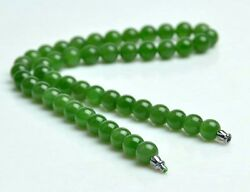 18 Natural Cat's-eye Green Nephrite Jade Beads Necklace W/ Certificate